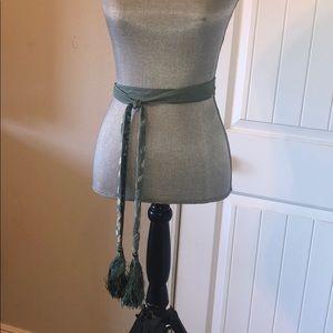 Accessories - NWOT Silk and velvet like wrap belt sea foam green
